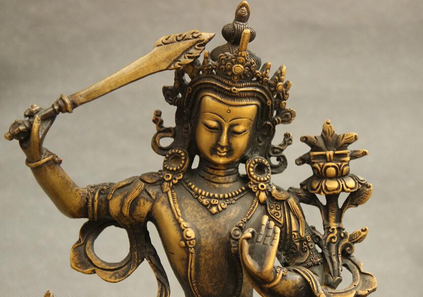 Tibet-Bronze-Buddhism-Manjushri-Bodhisattva-Kwan-Yin-Statue-Pray-Buddha-Joss